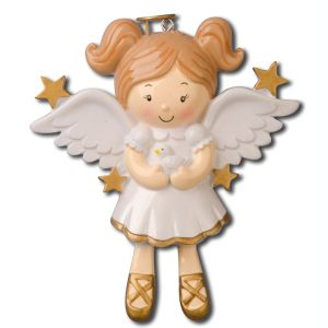 Girl Angel with Dove Personalised Christmas Decoration