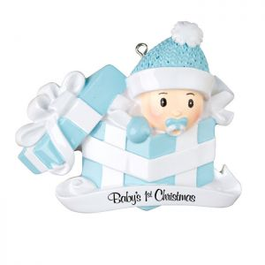 Babys First - Boy in a Present - blue Personalised Christmas Decoration