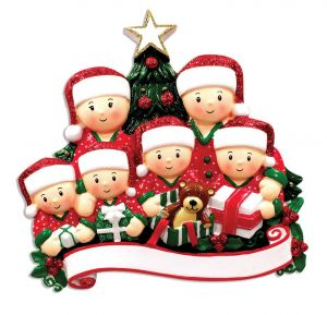 Opening Presents (family of 6) Personalised Christmas Ornament