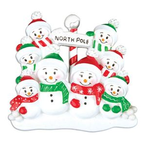 North Pole Family of 8 Personalised Christmas Decoration