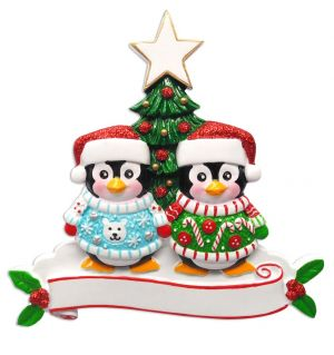Cute Sweater Family of 2 Personalised Christmas Ornament