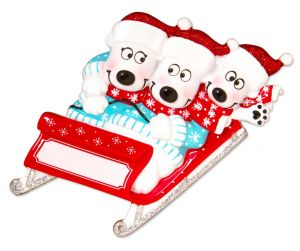 Bears on Sled of 3 Personalised Christmas Ornament