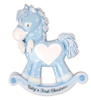 Baby Boy Rocking Horse (New) Personalised Christmas Ornament