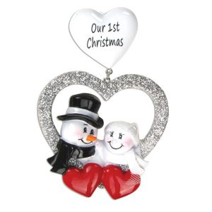 Bride and Groom in Silver Heart Personalised Christmas Decoration Ornament