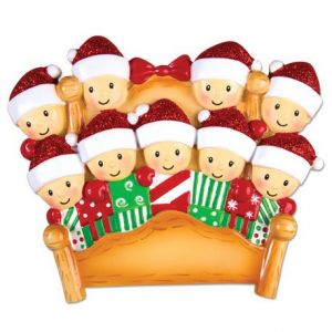 Bed Family of 9 Personalised Christmas Ornament Decoration