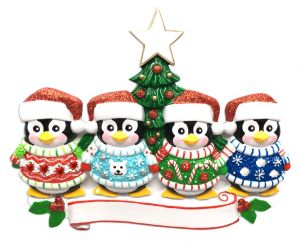 Cute Sweater Family of 4 Personalised Christmas Ornament