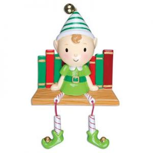 Elf on Book Shelf Personalised Christmas Decoration Ornament