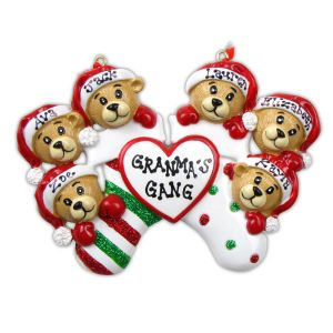 Bears Clinging to Stockings x 6