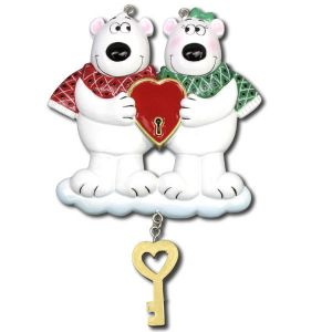 Key To My Heart | Polar Bears | Personalised Christmas Decoration