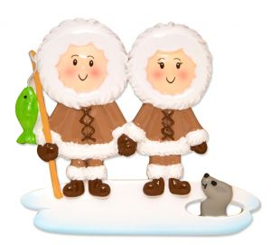 Eskimo Family Couple Personalised Christmas Ornament