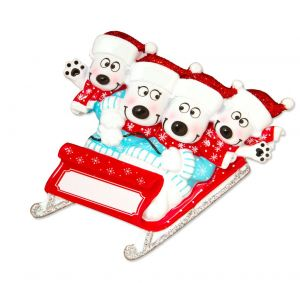 Bears on Sled of 4 Personalised Christmas Ornament