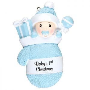 Babys First - Baby Boy in a Mitten Stocking - Blue Personalised Christmas Decoration
